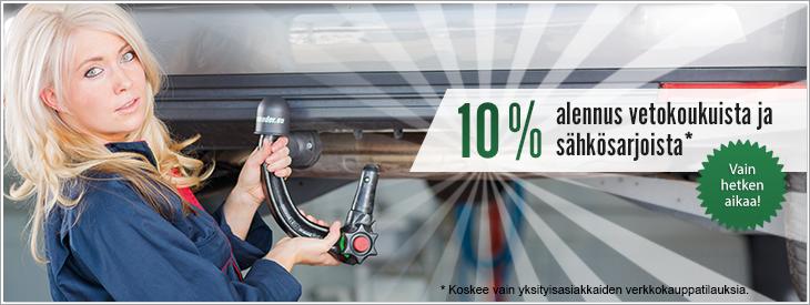 10 % alennus vetokoukuista ja sähkösarjoista